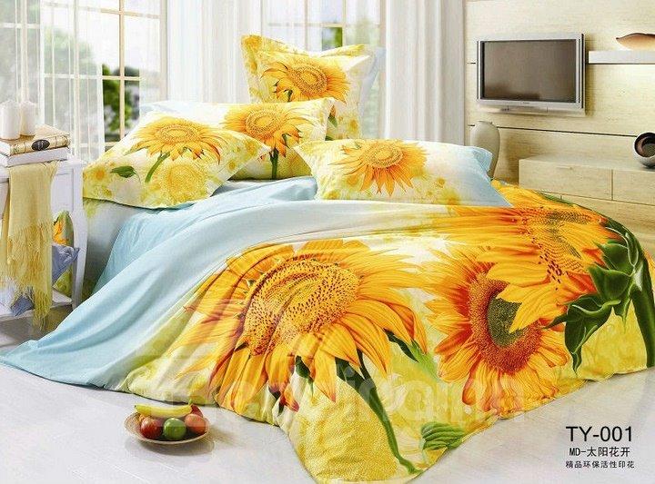 Yellow Sunflower Printed 4 Piece Cotton Bedding Set
