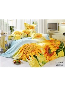 Yellow sunflower printed 4 Piece Cotton bedding set