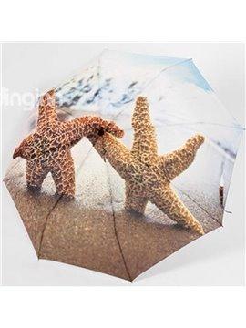 New Arrival 3D Print Sea star/Starfish folding Umbrella UV-proof