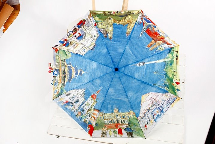 High Quality Creative Famouse Oil Painting Print Folding Umbrella