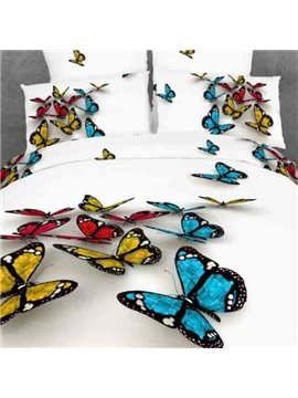 3D Butterfly Print White Color Duvet Cover 4 Piece Bedding Sets