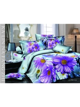 New Arrival Realistic Purple Daisy Print Duvet Cover Bedding Sets