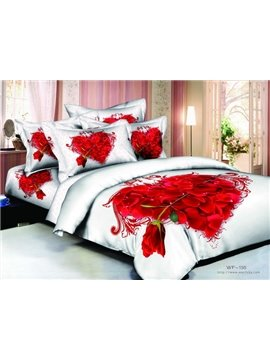 Romantic Heart-shaped 4 Piece Cotton Bedding Sets with Active Printing