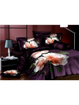 New Arrivals Cheap Elengant Purple With Rose 4 Pieces Bedding sets