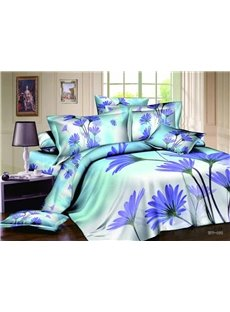 New Arrivals Elengant Purple Flowers 4 Pieces Bedding Sets