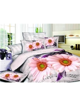 Vital Rhythm And Blooming Flowers 4 Pieces Bedding Sets