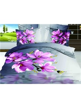 Hot Sell Summer Style Blooming Purple Flowers with High Quality 4 Pieces Bedding Sets