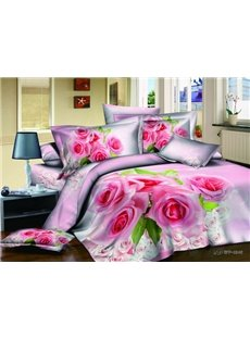 Unique Romantic Pink Rose With High Qulity 4 Pieces Bedding Sets