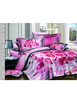 New Arrivals Sweet Rose Bouquet With High Quality 4 Pieces Bedding Sets