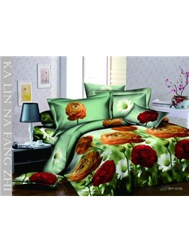 Amazing Colorful Flowers With High Quality 4 Pieces Bedding Sets