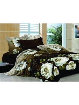 New Arrivals Romantic Printing White Rose With High Quality 4 Pieces Bedding Sets