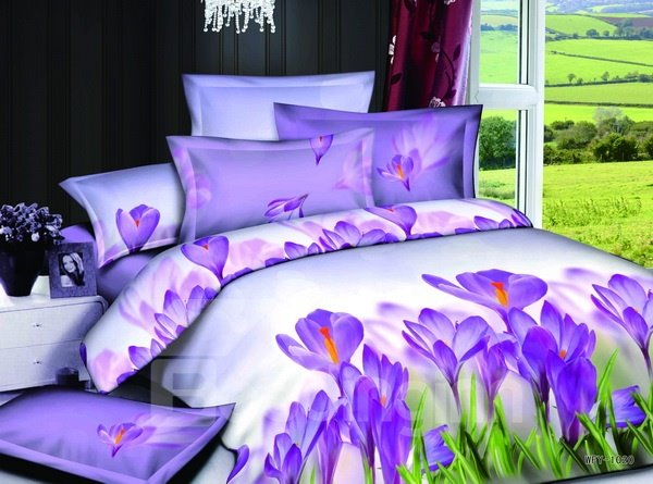 High quality elegant purple lily style 4 pieces bedding - Elegant purple bedding sets ...