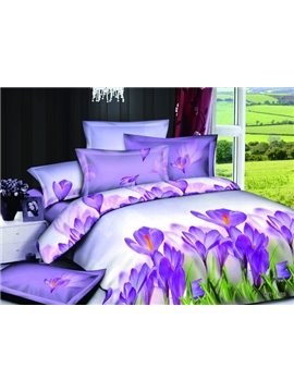 Elegant Purple Lily Style 4 Pieces Bedding Sets