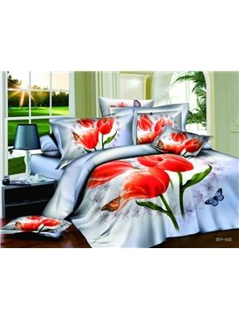 Hot Sell 3D Romantic Love Of Butterfly With High Quality 4 Pieces Bedding Sets