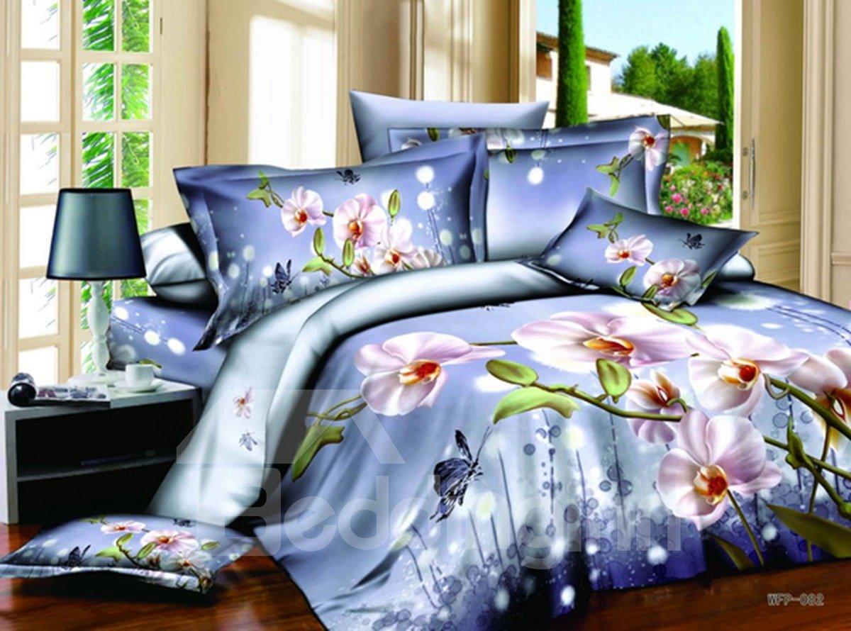Amazing Purple Phalaenopsis 3D Print 4-Piece Cotton Duvet Cover Sets