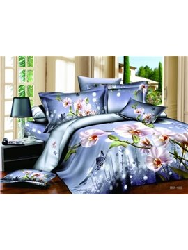 High Quality Amazing Light Purple Style Love of Butterfly 4 Pieces Bedding Sets