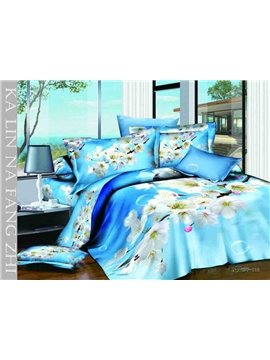 2013 New Arrivals Dreamlike Sky Blue Cherry Flowers 4 Pieces Bedding Sets