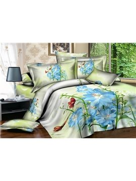 Cheap Fresh Style Love of Blue Flowers With Soft Materail 4 Pieces Bedding Sets