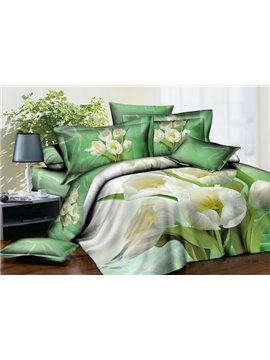 New Arrivals Amazing Budding White Flowers 4 Pieces Bedding Sets