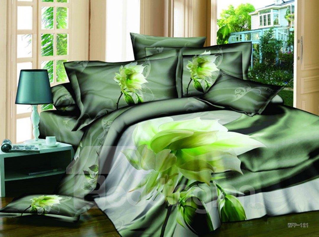Dreamlike Fresh Green Datura Print 4-Piece Cotton Duvet Cover Sets