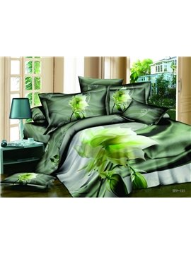 Dreamlike Fresh Summer Series with Budding Flowers 4 Pieces Bedding Sets