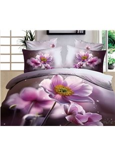 Romantic Pink Flower Realistic 3D Print Duvet Cover 4 piece Bedding Sets