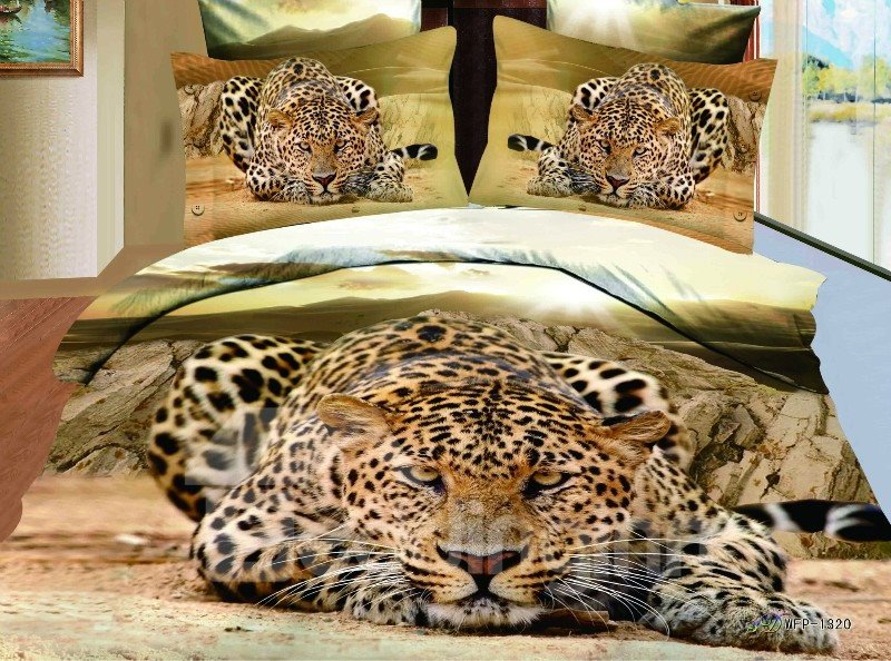Amazing Lifelike Creeping Leopard Print 3D 4 Piece Bedding Sets