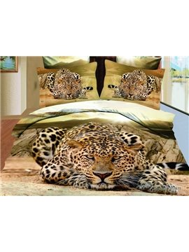 Amazing Lifelike Creeping Leopard Print 3D Comforter 4 Piece Bedding Sets