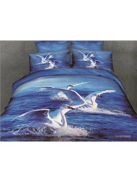 White Swans and Ocean Scene Blue Color  4 Piece Bedding Sets/Duvet Cover Sets