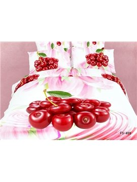 Fresh Fruit Red Cherry and Pink Flower Print 4 Piece Duvet Cover Bedding Sets