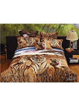 New Arrival Realistic Tiger in Jungle Reactive Printing 4 Piece Duvet Cover Bedding Sets