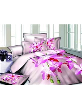 2013 New Arrivals Warm Pink Lily with High Quality 4 Pieces Bedding Sets