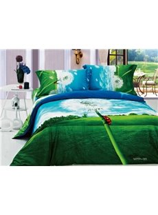 New Arrivals Perfect Printed Dreamlike Dandelion With High Quality 4 Pieces Bedding Setse