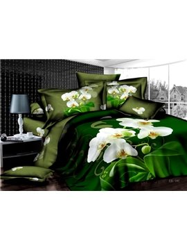 Hot Sell Rural Series With Blooming White Flowers 4 Pieces Bedding Sets