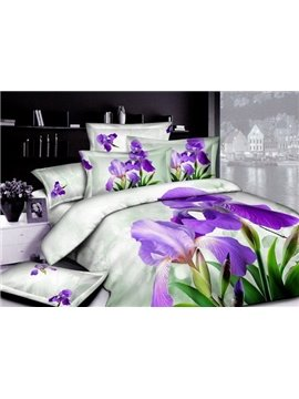 2013 New Arrivals High Quality Fresh Style Purple Blooming Flowers 4 Pieces Bedding Sets