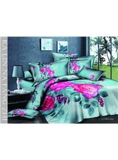 Beautiful Rural Style With Pink Rose Hot Sell 4 Pieces Bedding Sets