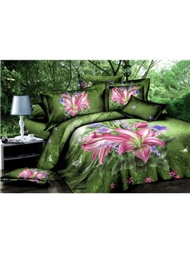 Hot Sell Charming Pink Lily in Wild Jungle 4 Pieces Bedding Sets