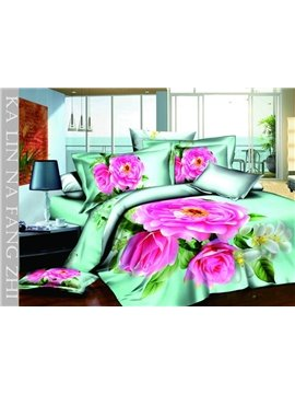 Dreamlike High Quality Pink Rose 4 Pieces Bedding Sets