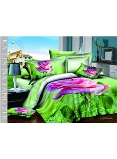 Hot Sell High Quality Romantic Pink Rose 4 Pieces Bedding Sets