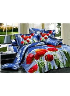 Hot Selling 3D Beautiful Tulip with Skyblue Background 4 Pieces Bedding Sets