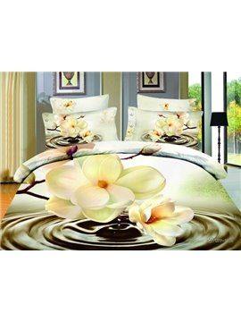 Perfect Printed Hot Sell Beauty Flower From The Water 4 Pieces Bedding Sets