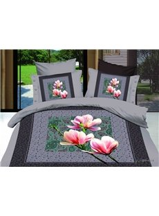 2013 New Arrivals Elegant Printed Pink Lily 4 Pieces Bedding Sets with High Quality