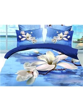 Hot Sell High Quality Charming White Flowers 4 Pieces Bedding Sets