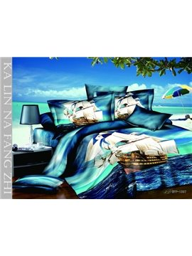 2013 Hot Sell 3D Passionate Sailing Travel With High Quality 4 Pieces Bedding Sets
