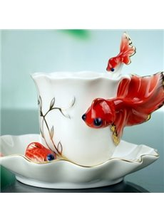 2013 Hot Sell Creative Gift Pink/Red/Purple Goldfish Coffe Cup For Lovers/Relatives
