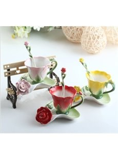 2013 New Arrivals Hot Sell Creative Enamel Multipurpose Red/Pink/Blue/Yellow Roses Coffe Cups
