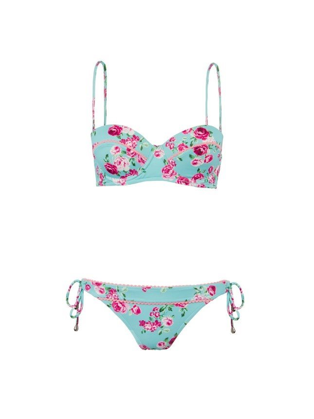 Vintage Style Fashion Swimsuit with Pink Rose Print Bikini Swimwear