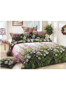 New Arrival 100% Cotton Little Pink Flower Print 3D Bedding Sets/Duvet Cover Sets