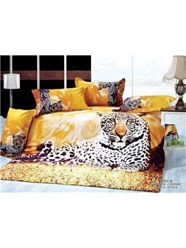 New Arrival Leopard Animal Reactive Print 4 Piece Bedding Sets Duvet cover Comforter Sets