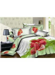 Fresh Strawberries Reactive Print Duvet Cover Sets/Bedding Sets